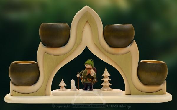 Massivholzbogen, Teelichthalter Weihnachten, echt Erzgebirge