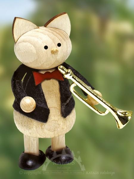 Deko Katze mit Fanfare, echt Erzgebirge
