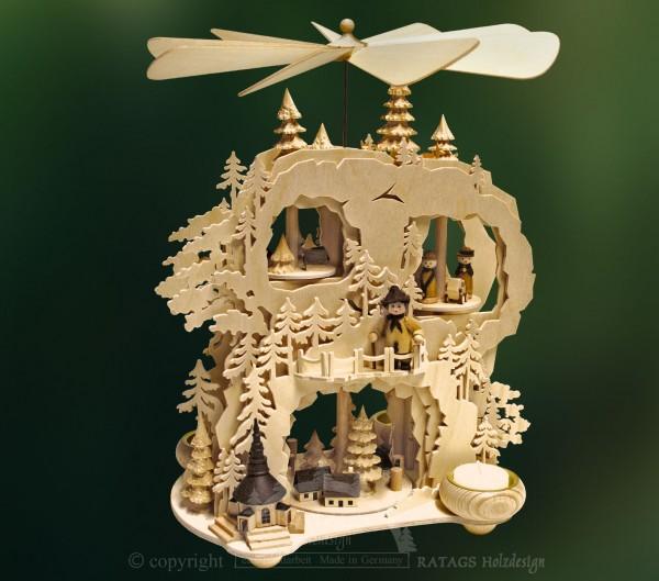 Zahnradpyramide, Deko, Weihnachten, echt Erzgebirge
