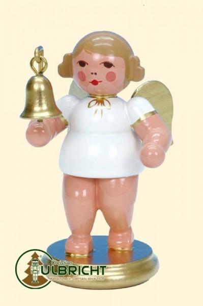 Engel mit Glocke, weiß/gold