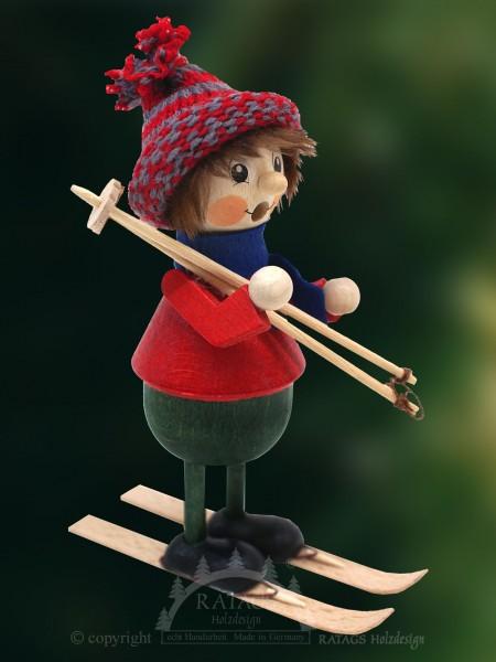 Raeuchermann Skifahrer, Deko, Weihnachten, echt Erzgebirge