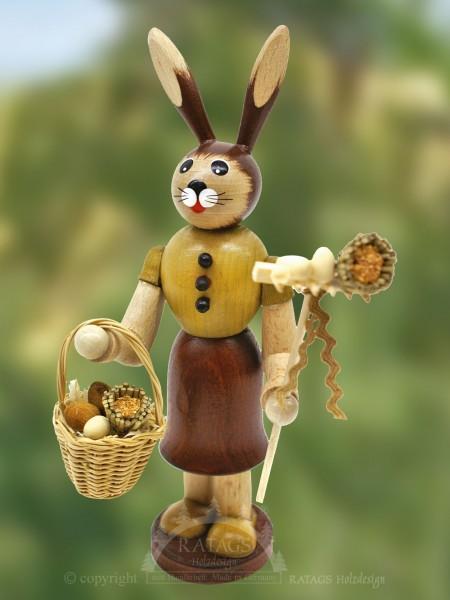 Hasenfrau mit Handkorb und Stock, Ostern, echt Erzgebirge