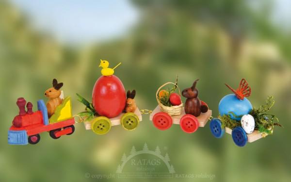 Bunter Osterzug mit Hasen und Eiern, echt Erzgebirge