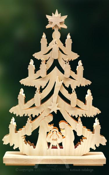 beleuchtete Tanne Geburt, Weihnachten, echt Erzgebirge
