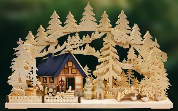 Schwibbogen Am Waldbach, Weihnachten, echt Erzgebirge
