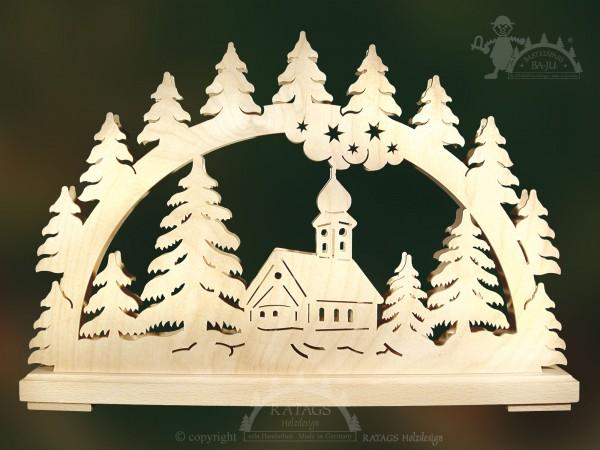 Schwibbogen Kirche im Wald, Weihnachten, echt Erzgebirge