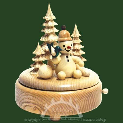 Spieldose Schneemann, Deko, Weihnachten, echt Erzgebirge