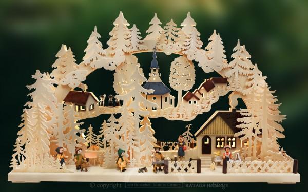 Schwibbogen Dorfidylle, Deko, Weihnachten, echt Erzgebirge