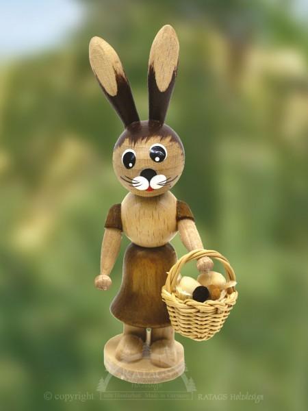 Hasenm=E4dchen mit Eierkorb, Ostern, echt Erzgebirge