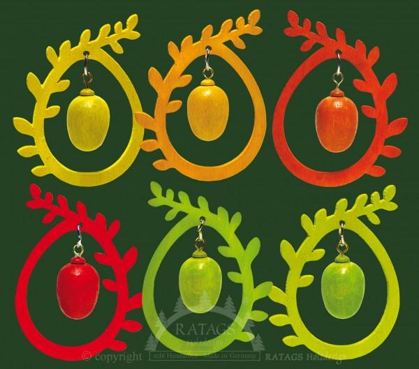 Baumbehang 6er Set, Ei im Ei, farbig