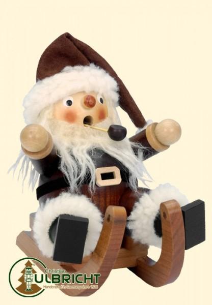 Räuchermann, Weihnachtsmann auf Schlitten, natur