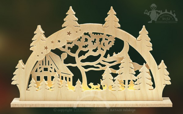 Schwibbogen Haus am Wald, Weihnachten, echt Erzgebirge