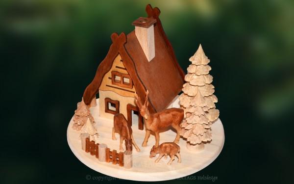 Raeucherhaus Baum + Rehe Deko Weihnachten, echt Erzgebirge