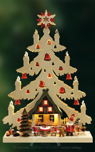 beleuchtete Tanne Weihnachtsabend, Deko, echt Erzgebirge