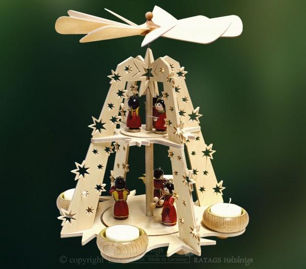 Sternpyramide Teelichter, Weihnachten, echt Erzgebirge