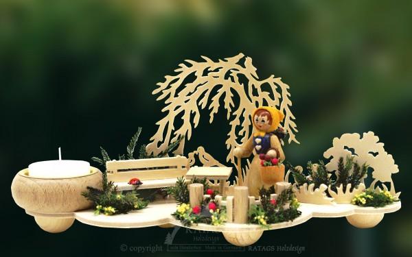 Tischschmuck, Wiese, Blumenfrau, Kerzenhalter