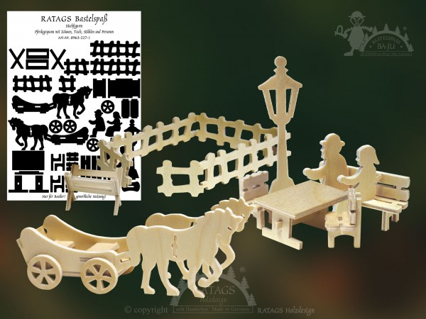 Steckfigur, Kutsche, Pferd, Bastel, Deko, Spiel