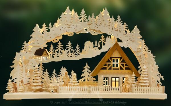 Schwibbogen Jaegerklause, Weihnachten, echt Erzgebirge