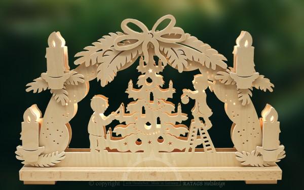 Schwibbogen kl., Weihnachtsfest, Tannenbaum, Baumkugeln