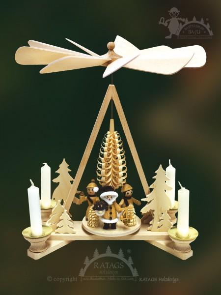 Pyramide mit Span Mittelbaum, Weihnachten, echt Erzgebirge