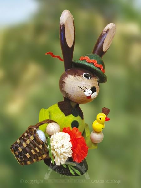 Wackelh=E4sin mit Korb Blumen Vogel, Ostern, echt Erzgebirge