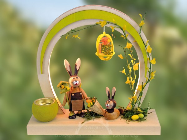 LED Romantikleuchte Ostern mit Hasen, echt Erzgebirge