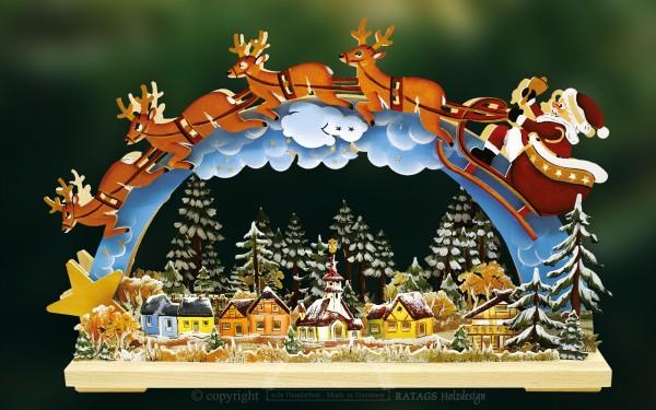 Schwibbogen Santa Claus, Deko Weihnachten, echt Erzgebirge