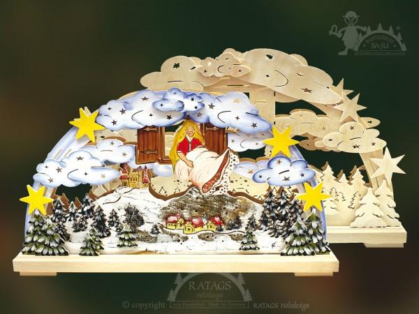 Schwibbogen Frau Holle Winter, Weihnachten, echt Erzgebirge