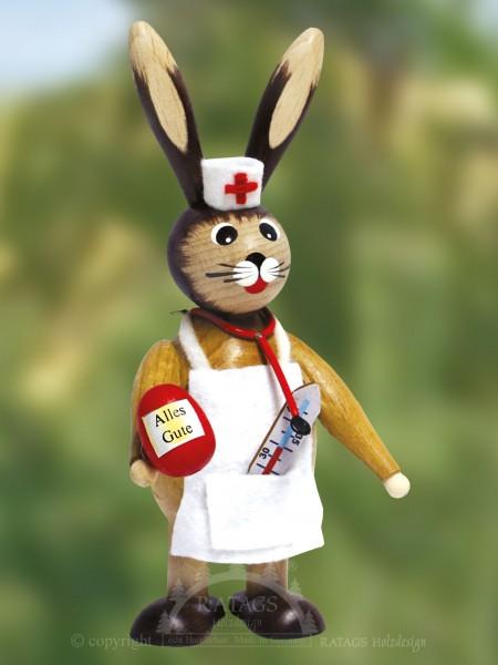 Knuffelhase als Doktor - Arzt, Ostern, echt Erzgebirge