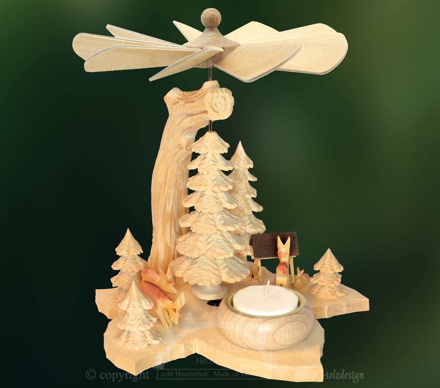 Teelichthalter Rehe Erzgebirge Seiffen NEU Deko Weihnachten