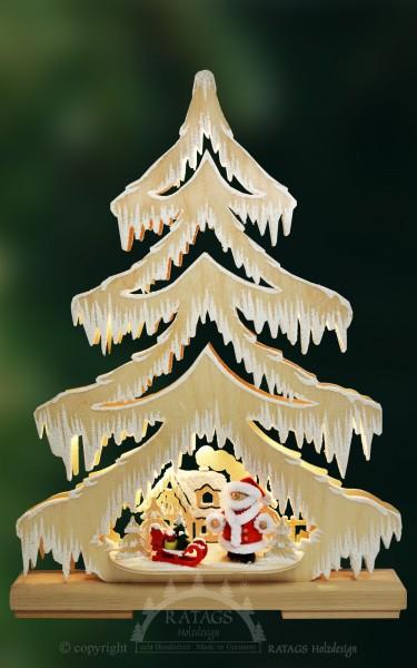 beleuchtete Tanne, Deko, Weihnachten, echt Erzgebirge