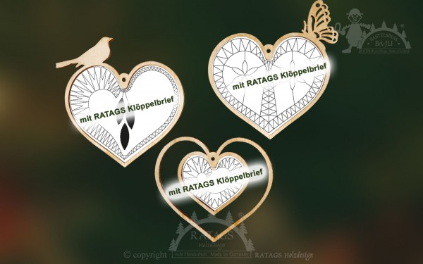 Kloppeln, Herzen, Hochzeit, Deko, Baumbehang