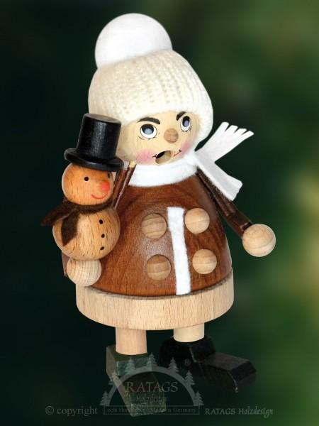 Raeuchermann Kind Schneemann Weihnachten, echt Erzgebirge