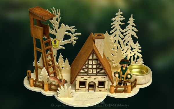Raeucherhaus Hochstand, Deko, Weihnachten, echt Erzgebirge