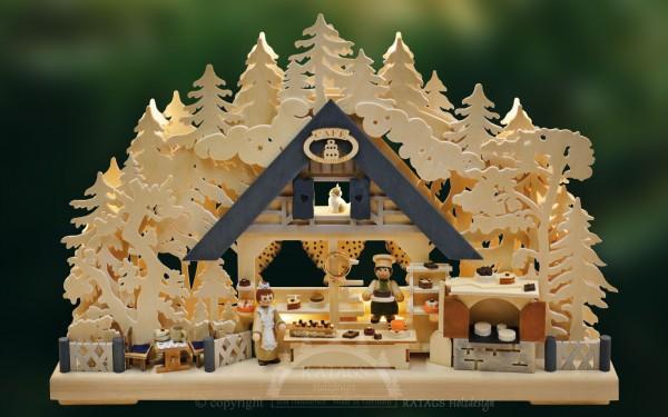 Schwibbogen Baeckerei, Deko, Weihnachten, echt Erzgebirge