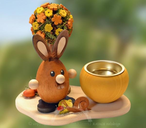 Teelichthalter Hase am Blumenbaum, Ostern, echt Erzgebirge