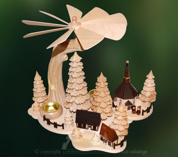 Massivholzpyramide Dorf, Weihnachten, echt Erzgebirge