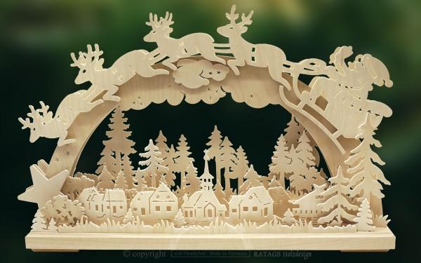 3D-Schwibbogen Santa Claus, Echt Erzgebirge, Deko, Holz
