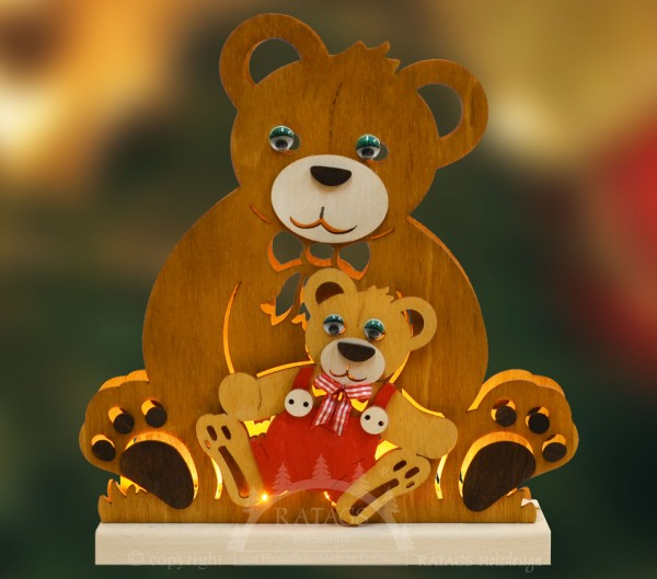 Romantikleuchte Tischlampe Teddy, Deko, echt Erzgebirge
