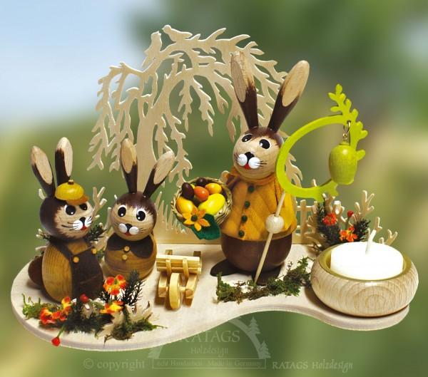 Hasen auf der Weide, Eier und Korb, Ostern, echt Erzgebirge