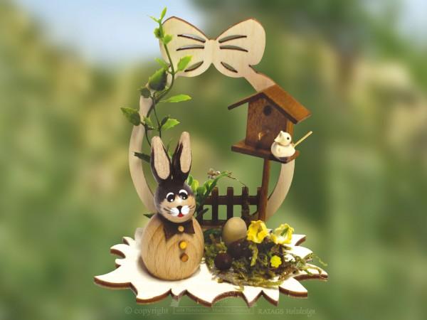 H=E4schen mit Vogelhaus und Ei, Ostern, echt Erzgebirge