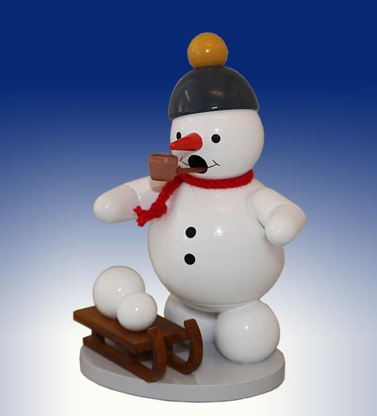 Räuchermann, Schneemann mit Schlitten