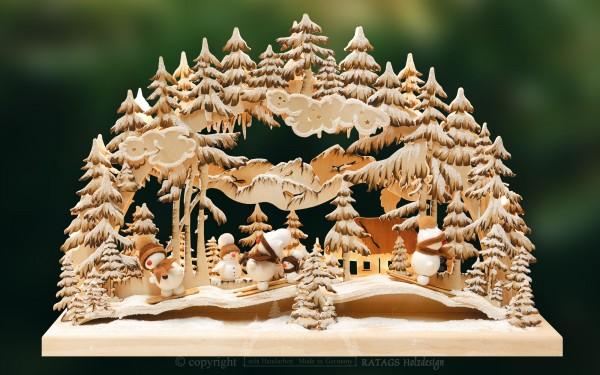 Schwibbogen Rutschpartie, Deko Weihnachten, echt Erzgebirge