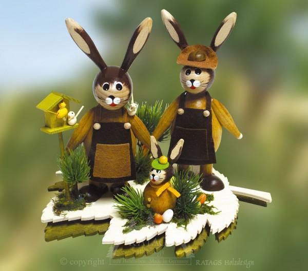 Tischschmuck Hasenfamilie auf Blatt, Ostern, echt Erzgebirge