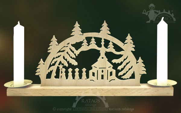 Mini Schwibbogen Barockkirche, Weihnachten, echt Erzgebirge