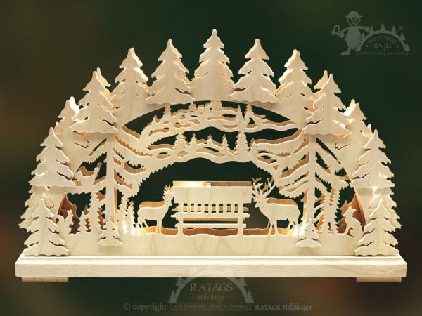 Schwibbogen Waldlichtung, Deko Weihnachten, echt Erzgebirge