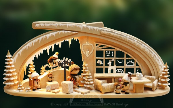 Massivholzbogen Eishoehle, Weihnachten, echt Erzgebirge