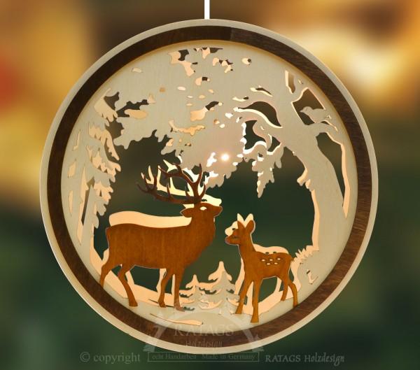 beleuchtetes Fensterbild Hirsch + Reh, Deko, echt Erzgebirge
