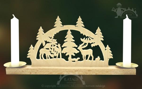 Mini Schwibbogen Waldtiere, Weihnachten, echt Erzgebirge