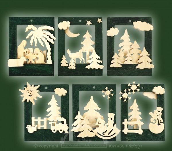 Baumbehang, Deko, Rahmen, echt Erzgebirge, natur, grün, 3D